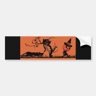 Vintage Pumpkin Kid Black Cats Bumper Sticker