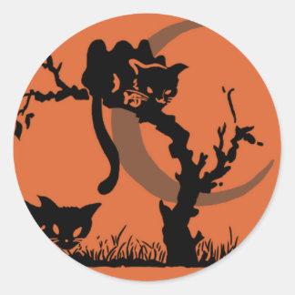 Vintage Pumpkin Kid Black Cats Round Sticker
