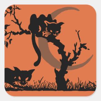 Vintage Pumpkin Kid Black Cats Stickers