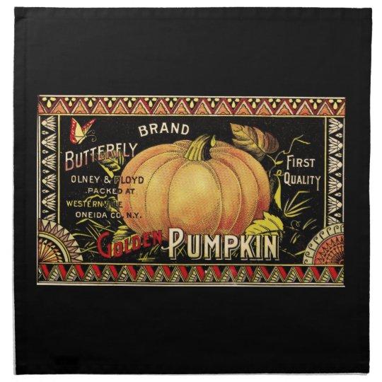 Vintage Pumpkin Label Art Butterfly Brand Cloth Napkin