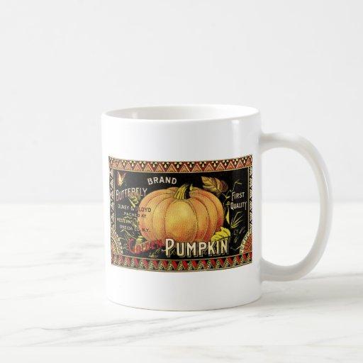 Vintage Pumpkin Label Art Butterfly Brand Classic White Coffee Mug