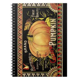 Vintage Pumpkin Label Art Butterfly Brand Notebook
