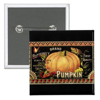 Vintage Pumpkin Label Art Butterfly Brand Pinback Button