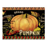 Vintage Pumpkin Label Art Butterfly Brand Postcard