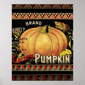 Vintage Pumpkin Label Art Butterfly Brand Poster
