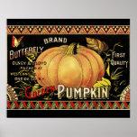 Vintage Pumpkin Label Art Butterfly Brand Posters