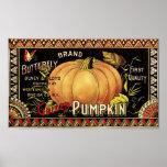 Vintage Pumpkin Label Art Butterfly Brand Print