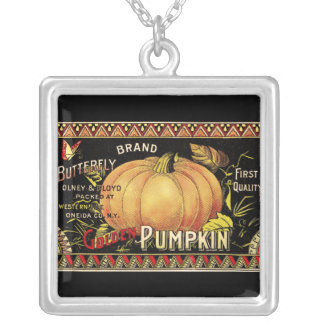 Vintage Pumpkin Label Art Butterfly Brand Silver Plated Necklace