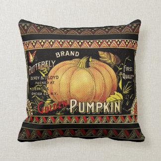 Vintage Pumpkin Label Art Butterfly Brand Throw Pillow