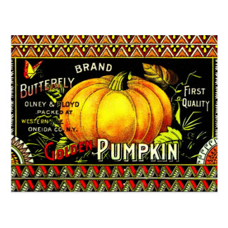 Vintage Pumpkin Label Postcard