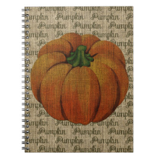 Vintage Pumpkin on Burlap Notebook
