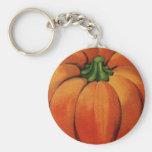 Vintage Pumpkin Print Basic Round Button Keychain
