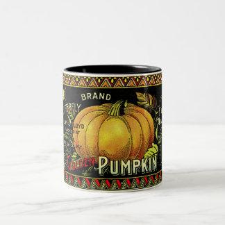 Vintage Pumpkin Print Two-Tone Coffee Mug