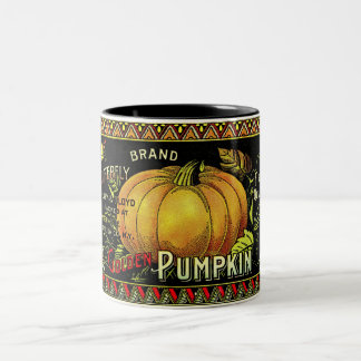 Vintage Pumpkin Print Two-Tone Coffee Mug