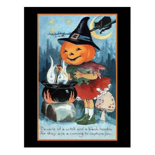 Vintage Pumpkin Witch Invitation Postcard