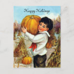 Sweet Vintage Boy With Pumpkins Holiday Postcard (Visit shop to explore more cute and spiritual themed cards and gifts).