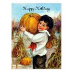 Vintage Pumpkins Postcard at Zazzle
