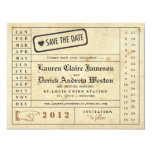 """Vintage Punch Card Save the Date 4.25"""" X 5.5"""" Invitation Card"""