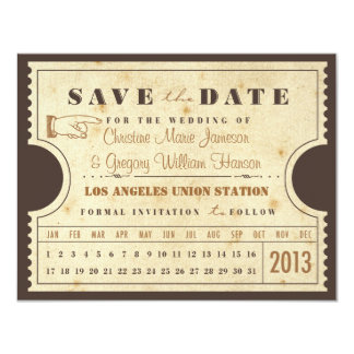 Vintage Punch Card Ticket Save the Date