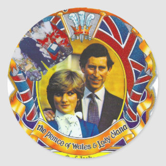 Vintage Punk  80'sroyal wedding Charles and Di Classic Round Sticker