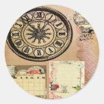 Vintage, punk del vapor, relojes, collage, pegatina redonda