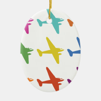 Vintage Punk Retro Airplane Pattern Double-Sided Oval Ceramic Christmas Ornament