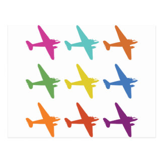 Vintage Punk Retro Airplane Pattern Postcard