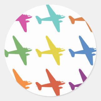 Vintage Punk Retro Airplane Pattern Classic Round Sticker