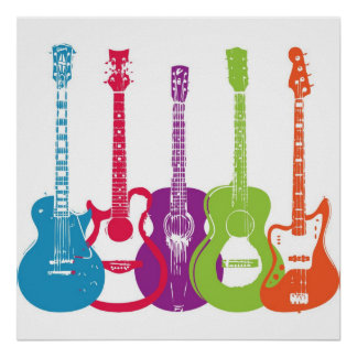 Vintage Punk Retro Guitars Print