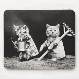 Vintage Puppies and Kittens Mouse Pad