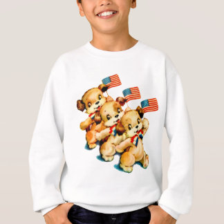 Vintage Puppies with Flags Kids Sweatshirt
