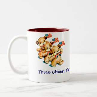 Vintage Puppies with Flags Mug