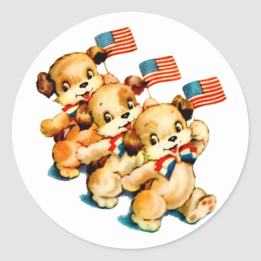 Vintage Puppies with Flags Sticker