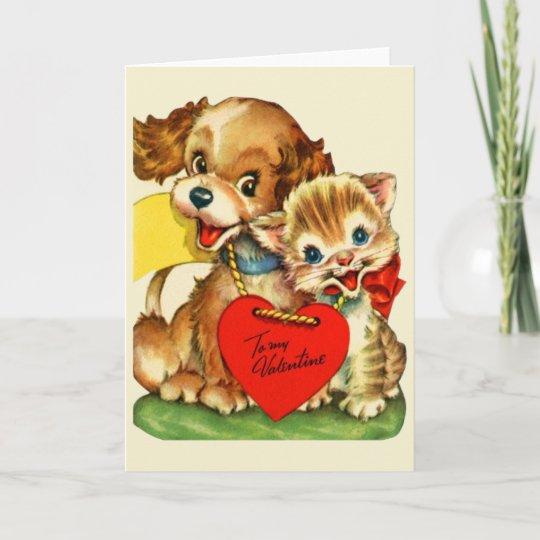 Vintage Puppy and Kitten Valentine\u0027s Day Card