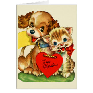 Vintage Puppy and Kitten Valentine's Day Card
