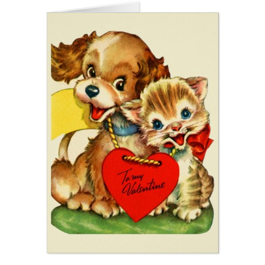 Puppy Dog And Kitten Valentines Card