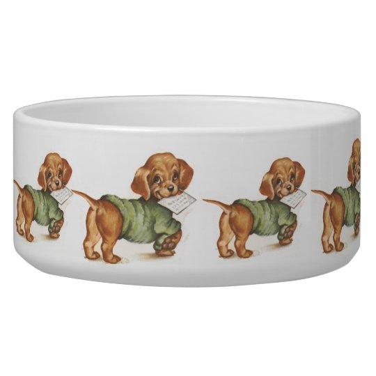 Vintage Puppy Art Dachshund Puppy Bowl