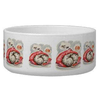Vintage Puppy Art Dreaming Dalmation Dog Food Bowls