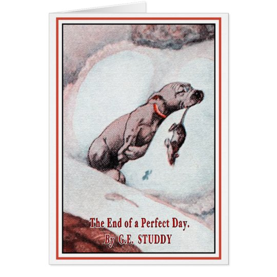 Vintage Puppy Art:  End of Day Card