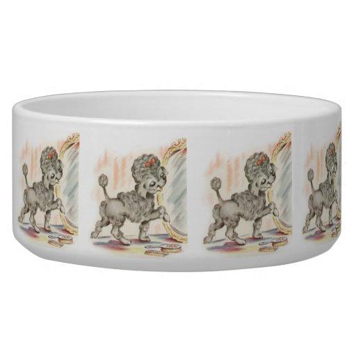 Vintage Puppy Art Poodle in Mirror Dog Food Bowl