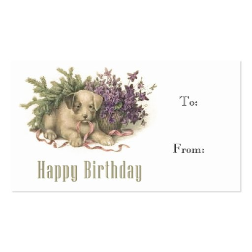 Vintage Puppy Birthday Gift Tag Business Card Templates