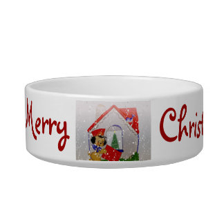 Vintage Puppy Christmas Greeting Cat Bowl