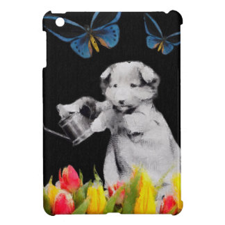 Vintage Puppy Flowers Butterfly Blk II iPad Mini Covers