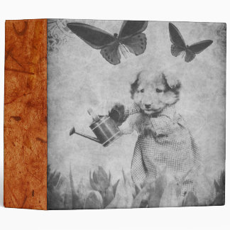 Vintage Puppy Flowers Butterfly Blk&Wht 3 Ring Binder
