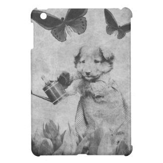 Vintage Puppy Flowers Butterfly Blk&Wht Cover For The iPad Mini