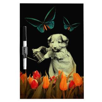 Vintage Puppy Flowers Butterfly Dry Erase Board