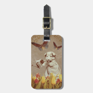 Vintage Puppy Flowers Butterfly Grunge III BagTags Bag Tag