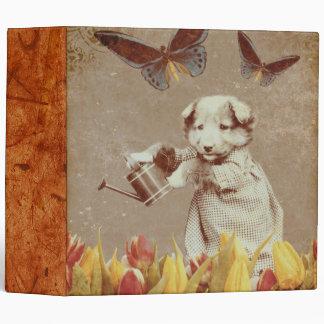 Vintage Puppy Flowers Butterfly Grunge III Binder