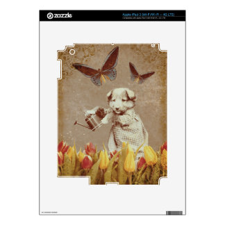 Vintage Puppy Flowers Butterfly Grunge III iPad 3 Decals