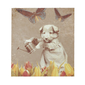 Vintage Puppy Flowers Butterfly Grunge III Notepad
